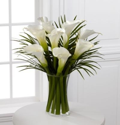 White Calla Lily and Palm Vase