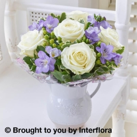 Baby Fragrant White Rose & Freesia Jug
