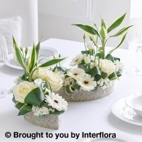 White Rose & Germini Curved Floral Centrepiece