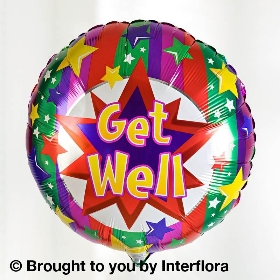 Vibrant Gift Box with Get Well Balloon